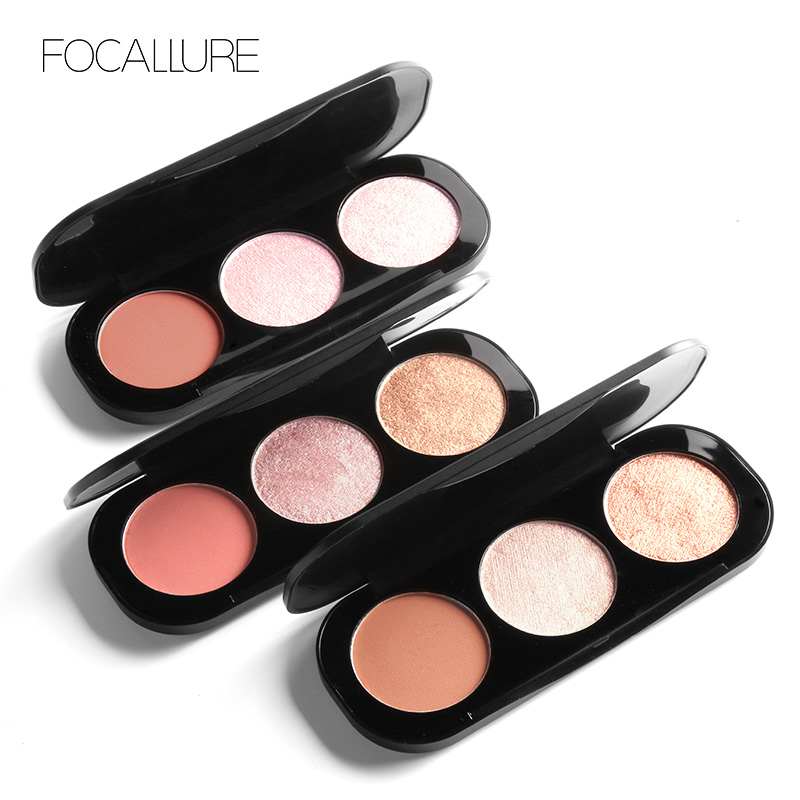 Eye Shadow Beauty Essentials Focallure Brand 3 Colors Blush & Highlighter Palette Highly Pigmented Face Matte Highlighter Powder Illuminated Blush With Brush