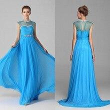 2015 Charming A-linie O-ansatz Lange Chiffon Abendkleid Flügelärmeln Abend-formale Sleeveless Abendkleid Crystals Gericht Zug