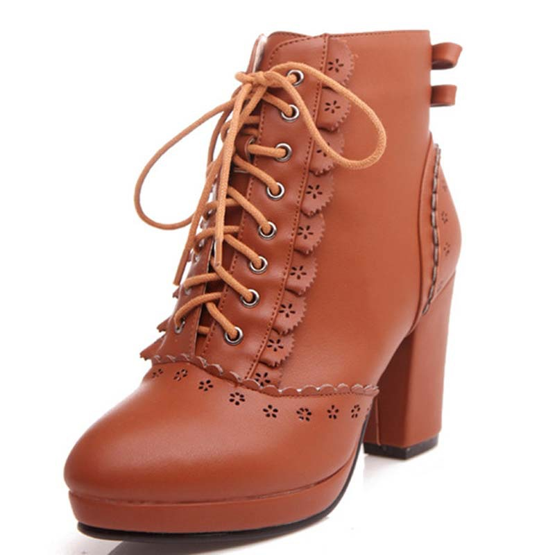 New Sale Fashion Ankle Boots For Women Lace up Thick High Heels Boots Round Toe Black Autumn Winter Boots Fashion Shoes hot sale women shoes lace up round toe mid calf boots for women fashion print floral embellished denim shoes retro femme boots
