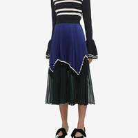 Blue and Green Panelled Skirt highlight panels black grosgrain waistband midi skirt