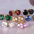 2016 new jewelry gold plated Imitation Zircon stud earrings 14 color Statement earring for Girls gift for woman