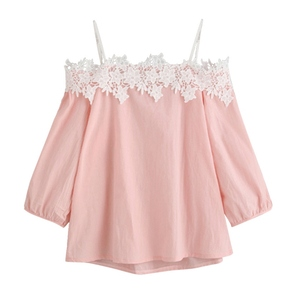 Summer Autumn Women Collocation Pink Blouse Ladies Summer Lace Off-shoulder Blouses Women Pink Blue Long Sleeve Casual Blouses