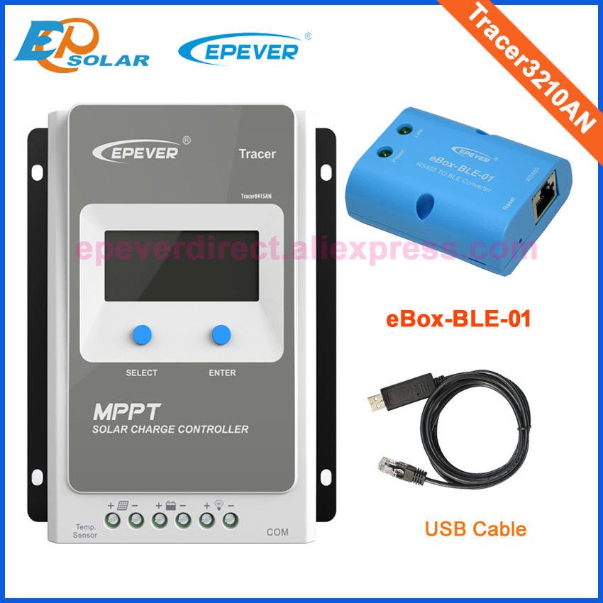 EPsolar MPPT solar controller with BLE function and USB cable Tracer3210AN 30A 12V/24V auto work 12v 24v auto work solar power bank regulators with usb cable and wifi box connect function tracer4210a mppt free shipping