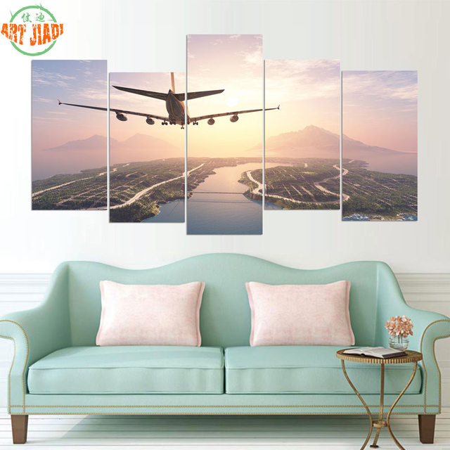 New 5 Pieces Sets Canvas Art Hd Airplane Landing On Island Paintings Decorations For