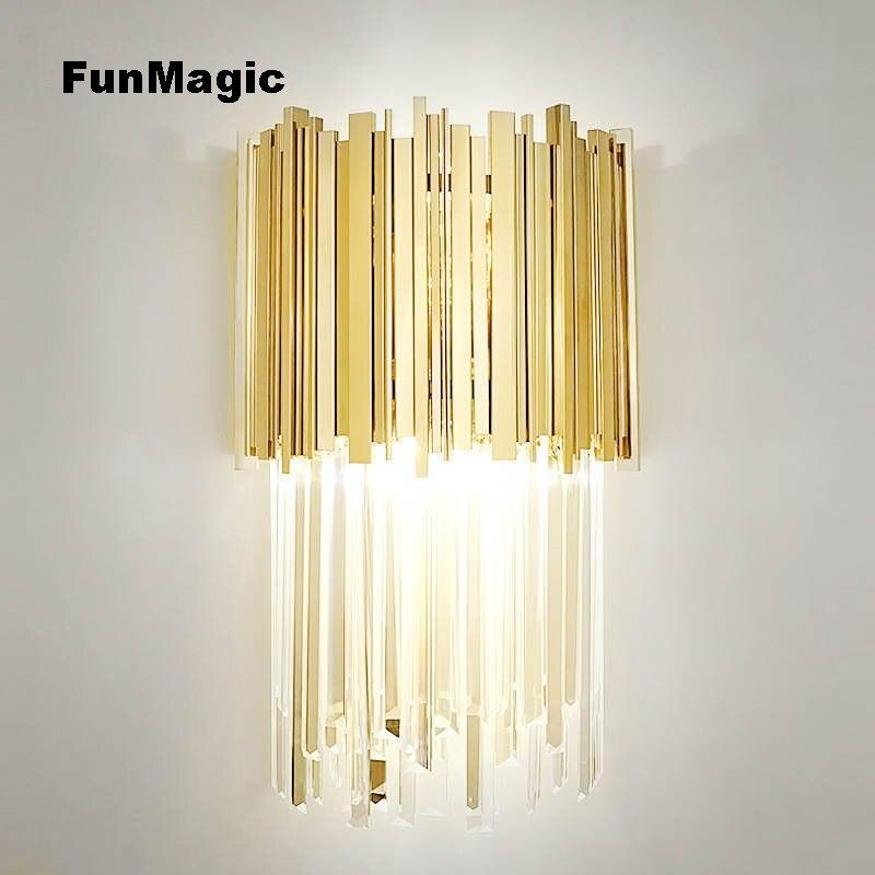 Пост современный роскошный кристалл настенный светильник Ночной свет Ванная комната Суета перед зеркалом проход освещение коридора Насте