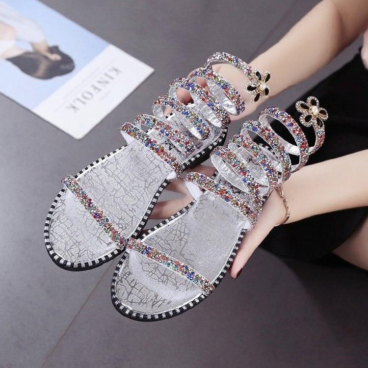 2019 1 2 Zapatos Tobillo Nuevas Verano Moda Planas Sexy De Mujeres silver 2 3gold gold 3 Sandalias silver silver K733 1 Mujer Las gold rZSqwTr