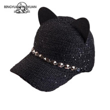 цены New fashion women girl's Hats spring summer cap cat ears hats snapback bone Hip Hop Caps wool knit baseball cap