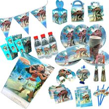 Omilut moana decoração de festa de aniversário, toalha/copos desenhos animados mnana para festa, decoração de festa infantil