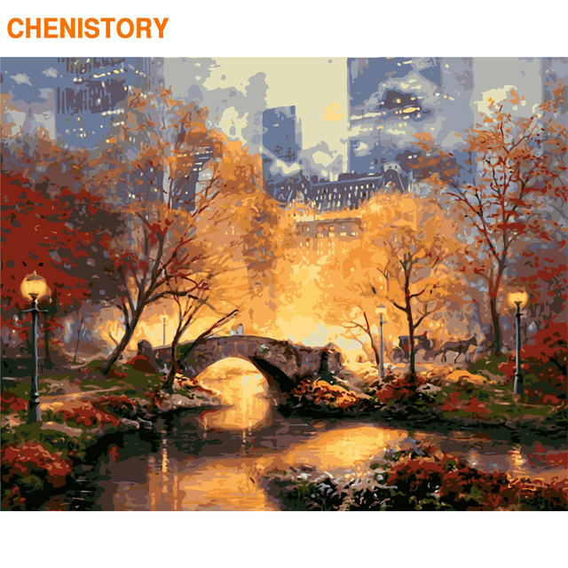 CHENISTORY Frame DIY Painting By Numbers Explode City Paint By Numbers Kit Landscape Coloring By Number For Home Decors Artworks