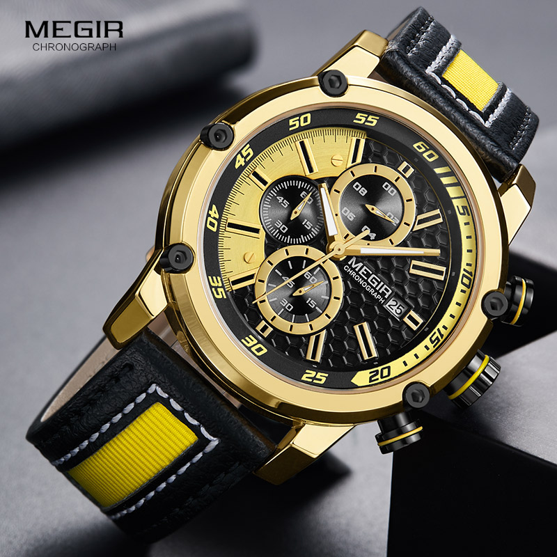 MEGIR Men's Leather Strap Sports Chronograph Watches Fashion Waterproof Luminous Analogue Quartz Wristwatch for Man 2079GDBK clearaudio professional analogue toolkit
