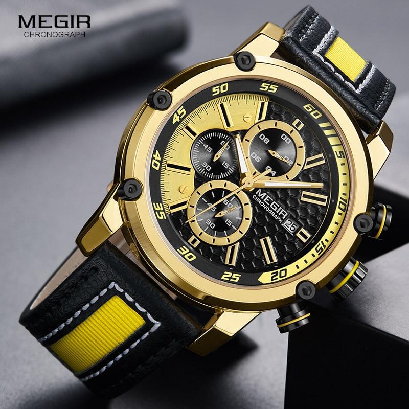 MEGIR Men's Leather Strap Sports Chronograph Watches Fashion Waterproof Luminous Analogue Quartz Wristwatch For Man 2079GDBK