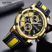 MEGIR montre bracelet de sport en cuir pour hommes, mode chronographe, étanche, analogique, à Quartz, 2079GDBK