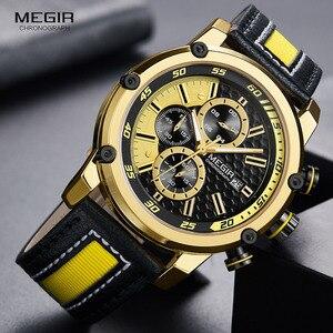 Image 1 - MEGIR montre bracelet de sport en cuir pour hommes, mode chronographe, étanche, analogique, à Quartz, 2079GDBK