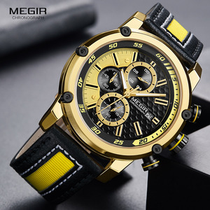 Image 1 - MEGIR גברים של רצועת עור ספורט הכרונוגרף שעונים אופנה עמיד למים זוהר אנלוגי קוורץ שעוני יד לגבר 2079GDBK