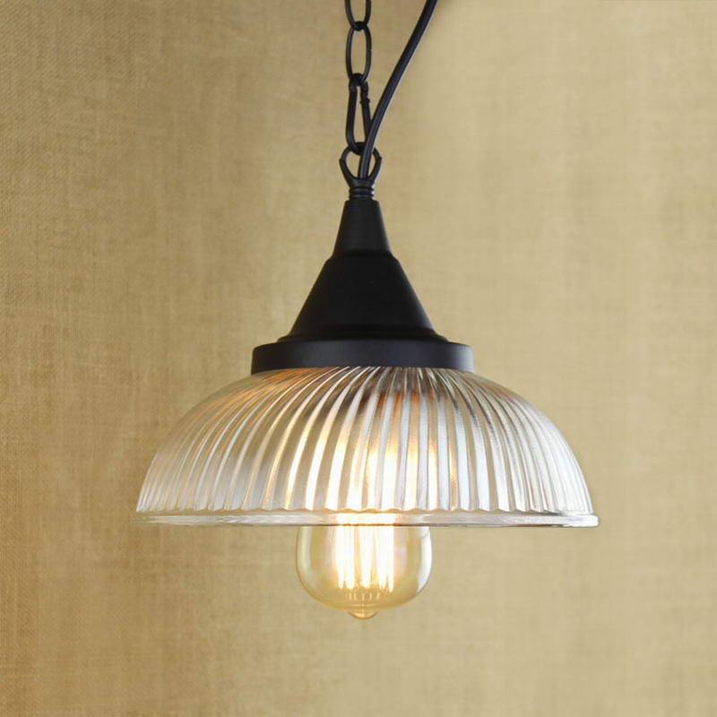 Recycled Retro Hanging Clear Glass Cup Pendant Lamp With