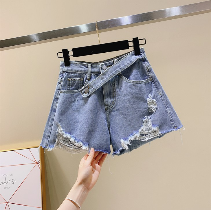 Jeans New Fashion Cowboy Shorts Womens Spring Summer2019 New High Waist Broken Holes Wide Leg Pants Thin Hot Pants Summer Student