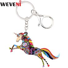 WEVENI Original Acrylic Unicorn Horse Key Chain Key Ring Bag Charm Car Pendant Statement Trendy Animal Jewelry For Women(China)
