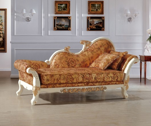 Beautiful Luxury Italian Royal Style Chaise Lounge Chair Recliner Sofa Living Room And