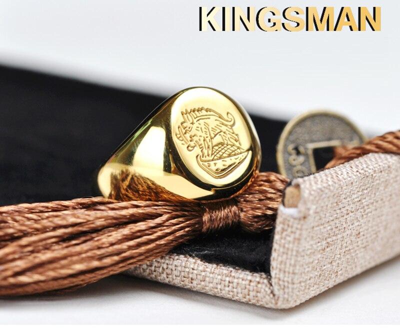 Kingsman anneau le Secret Service personnalisé chevalière anneaux pour hommes femmes Cosplay S925 argent couleur laiton couleur or gratuit graver Cool - 6