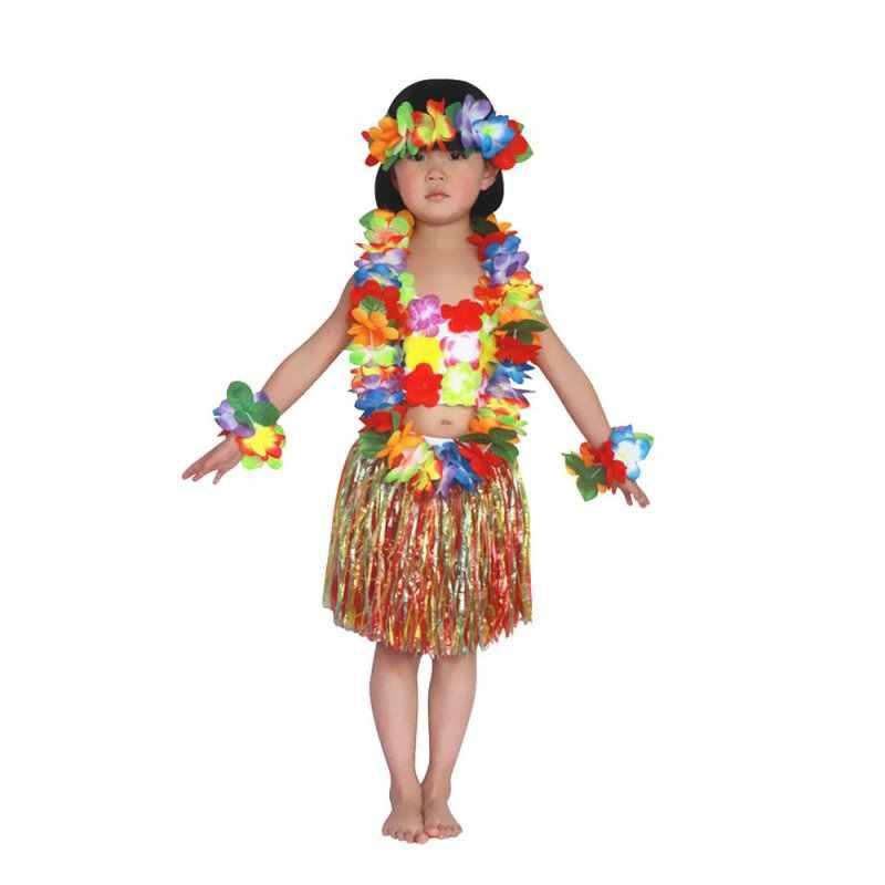 diseño unico aliexpress excepcional gama de estilos y colores Camiseta + falda Niños Niñas Ropa hawaiana hierba falda flor Hula Garland  baile vestido 6 unids/set para 4 -8 años de edad