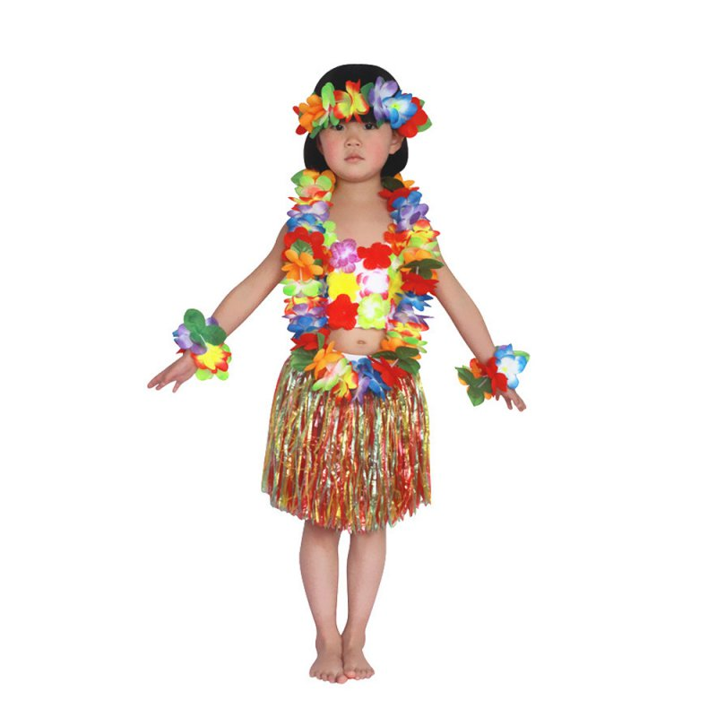 Child Kids Girls Hawaiian Grass Skirt Flower Hula Garland Dance Dress 6 PCS/Set For 4-8 Age