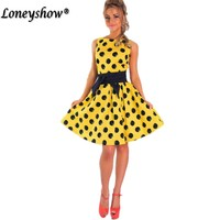 Loneyshow Summer Ladylike Patchwork Dots Vintage O Neck Womens Chic Gorgeous Ball Gown Bow A Line