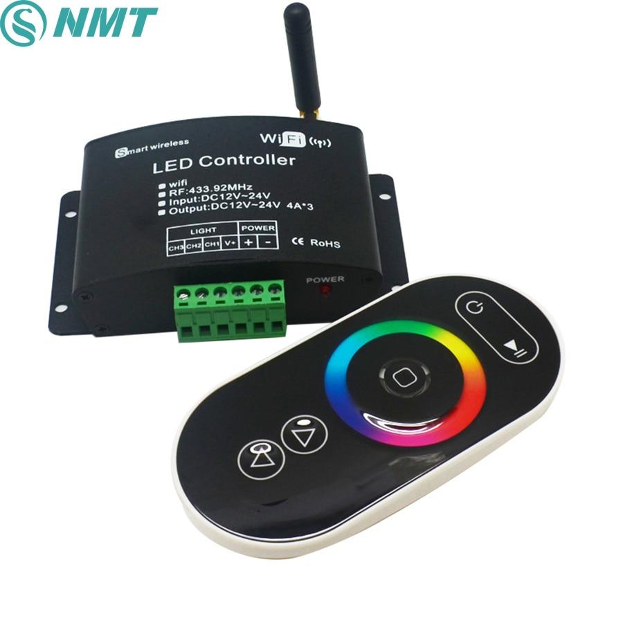 1 pièces DC12v 24 V 12A wifi 2.4 Ghz 433.92 Mhz rvb/température de couleur/gradateur tactile a mené le contrôleur à distance contrôle Android/IOS