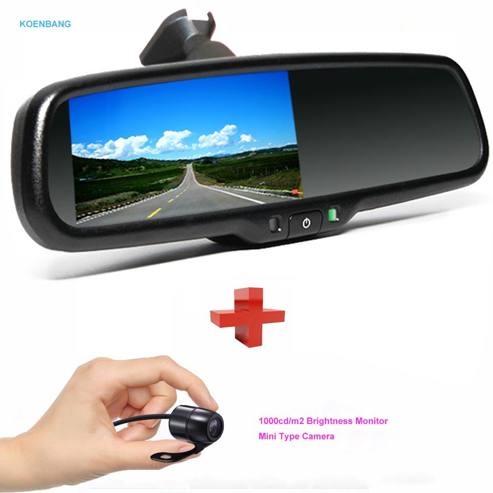 KOENBANG 4.3 TFT LCD Car Rearview Mirror Monitor 1000cd/m2 2-way Video Input+Mini Type Rear View Camera Reverse Backup Camera