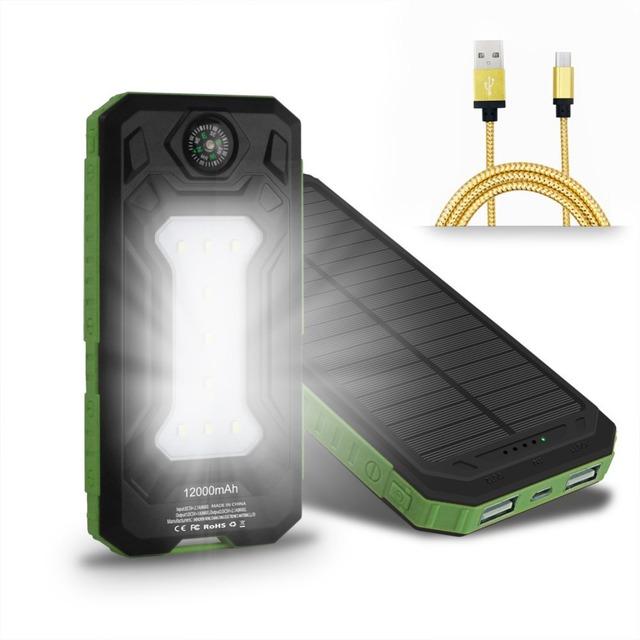 De viaje A Prueba de agua Solar Banco de la Energía 12000 mAh Dual USB Cargador Solar de Batería Externa PowerBank con LLEVÓ la Luz DEL Campamento Brújula