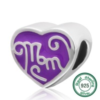 ChaWin Great Mom Purple Heart Charm 100% Authentic 925 Sterling Silver Beads fits Pandora Charms bracelets & Necklaces