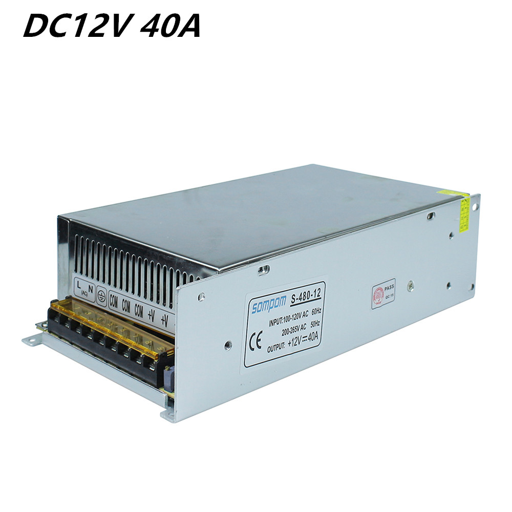Dimmable LED Driver Switch Power Supply AC 110V/220V to DC 12V 40A 480W Voltage Transformer for Led Strip Light free shipping ac dc 36v ups power supply 36v 350w switch power supply transformer led driver for led strip light cctv camera webcam