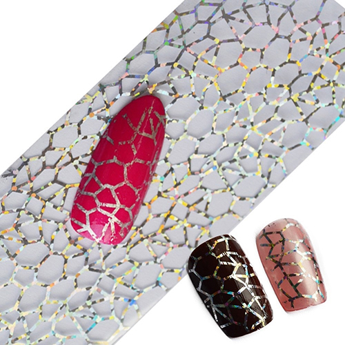 2016 New Glitter Nail Art Full Tips DIY Cobweb Nail Foils Transfer Polish Sticker Nail Decals 08WG 12x sexy colorful full cover nail art polish sticker metal adhesive foils patch diy beauty nail art tools y stzj 18