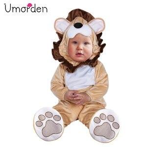 Urorden karnawał kostiumy na Halloween maluch niemowlę dziecko zwierząt lew kostium Cosplay dla dziewczynki chłopiec przebranie kombinezon