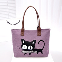 Canvas Shopping Bag Cute Cat Supermarket Women Beach Bag Color Printing Lady Girls Handbags Reusable Tote