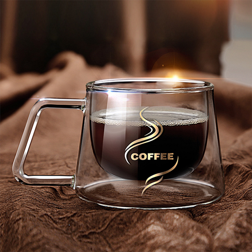 Fashion Square Shape Transparent Office Cup Double Layer Heat Resistant Borosilicate Heat Insulation Glass Mugs Coffee