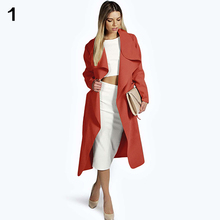 Women Autumn Winter Loose Coat Trench Casual Overcoat Outwear with Waistband