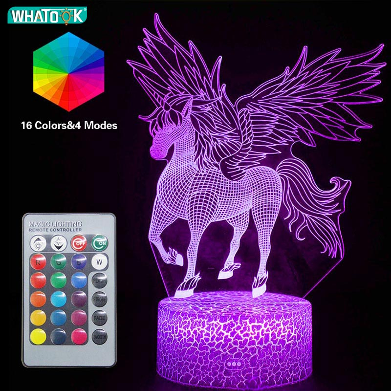 Unicorn 3D Night Light LED Remote Table Lamps Mood 16 Color Baby Sleeping Bedroom Home Decorative Luminaria Kid BirthdayToy Gift