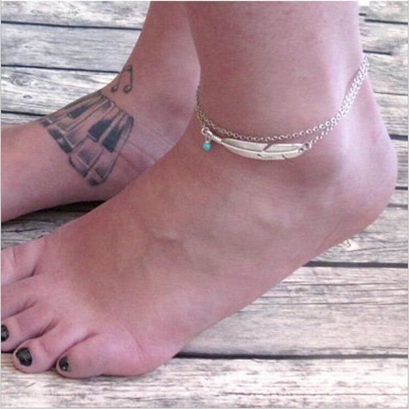 Billige Pris Feather Leave Ankel Armbånd Barefoot Sandaler Ankler For Kvinner Beach Foot Smykker Leg Chain Tilbehør Z565