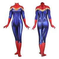 Women Captain Carol Danvers Jumpsuits Leotard Wonder Woman Cosplay Costume Fancy Outfits Zentai Bodysuit