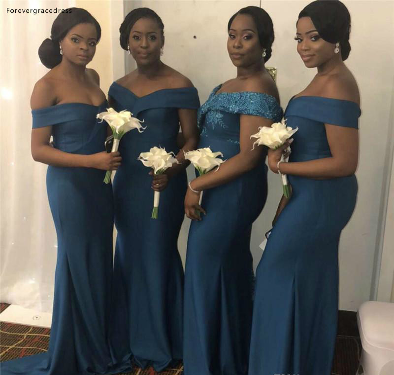 African Black Girls   Bridesmaid     Dresses   Mermaid Long Summer Country Garden Formal Wedding Party Guest Maid of Honor Gowns