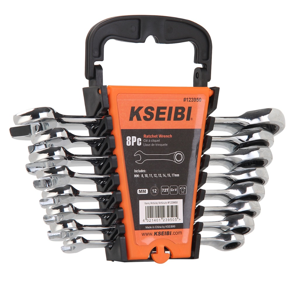 KSEIBI 8Pcs Ratcheting Combination Wrench CRV Metric Torque Wrench 12-point rings 72-tooth ratchet action (mm) Europ standar ratcheting wrench