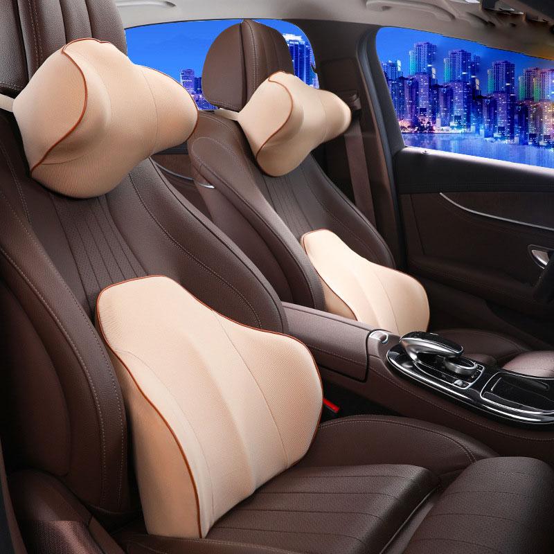 Appui-tête de voiture de coton de mémoire et soutien lombaire oreiller de protection de cou de siège de voiture et soutien détendu de bois