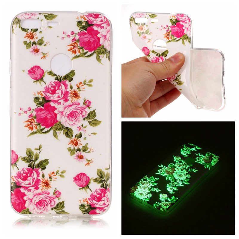 Rose Luminous TPU Soft Silicon Case Cover For Google Pixel XL
