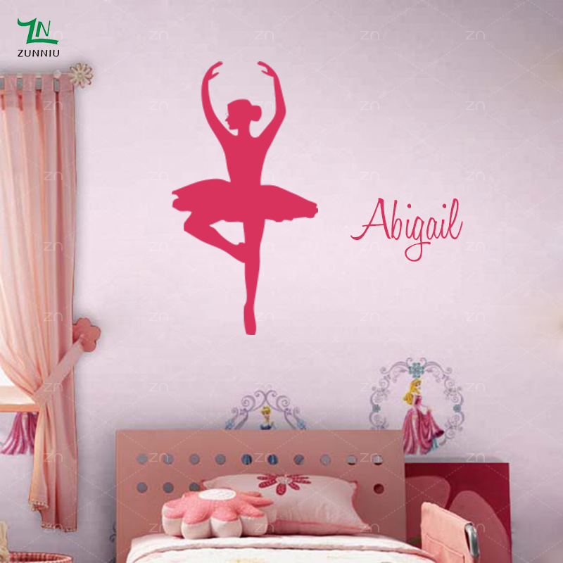Personalised custom Name Ballerina Wall Stickers Ballet Dancer Girls ...