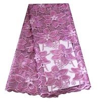 Lilac 3D French Lace Fabric With Flower Embroidery Sequins Lace Fabric High Quality African Net Lace