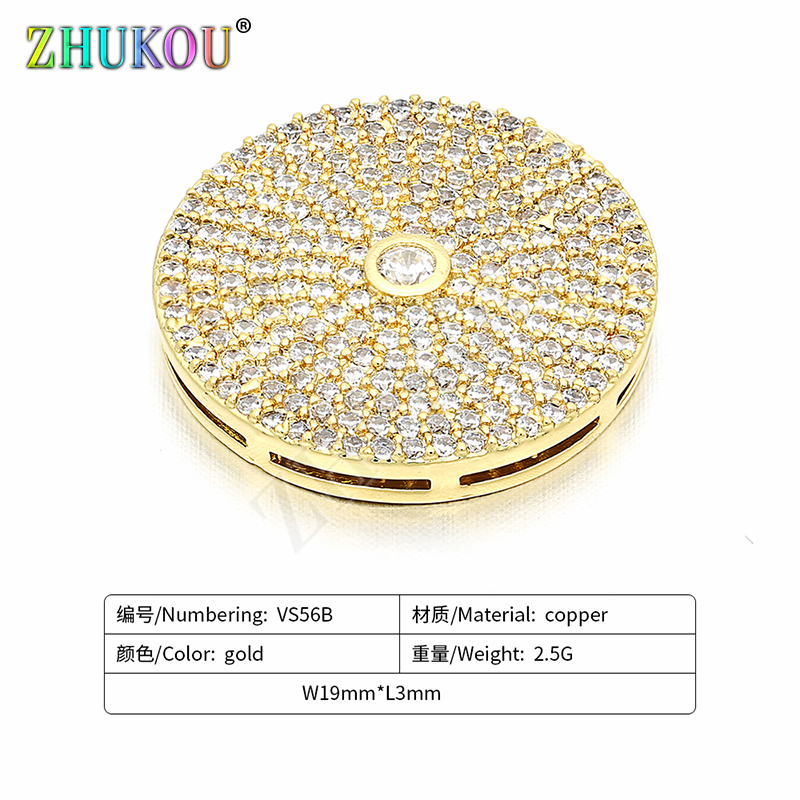 19mm Handmade Brass Cubic Zirconia Gold Disc Charms Connectors DIY Jewelry Bracelet Necklace Making, Model: VS56