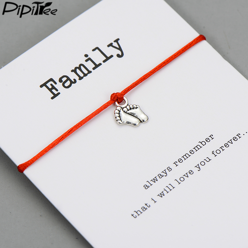 Pipitree Lovely Double Feet Family Wish Bracelet Mom Dad Baby Kids Gift Simple Red String Charm Bracelets Jewelry for Women Men(China)