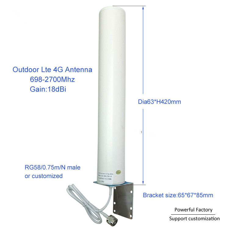 New 18dBi Omni Wifi 698-2700Mhz N Male Outdoor Lte 4G Antenna For Communication 1PCS