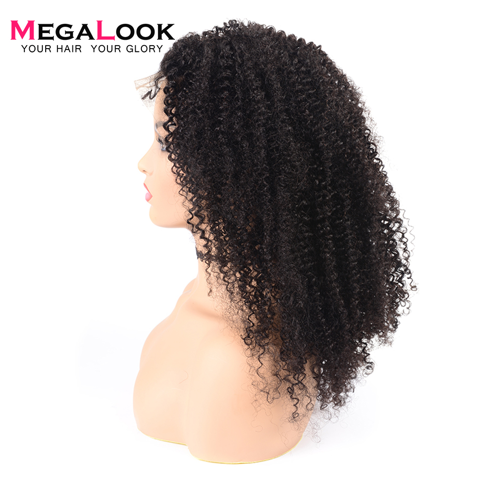 Megalook 360 Lace Frontal Wig Kinky Curly Brazilian Lace Front Human Hair Wigs Plucked with Baby
