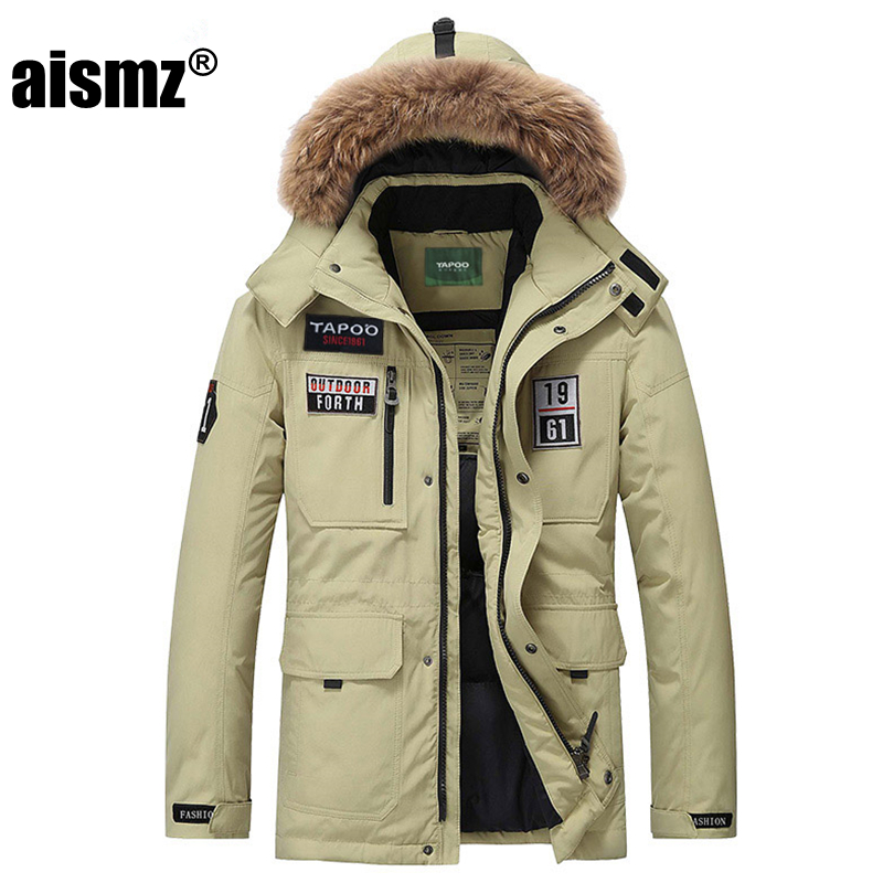 Aismz Mens Down Coats Polyester Winter Jackets Thick Casual Outerwear Windproof Handsome Warm Regular Parkas And Coats Hooded